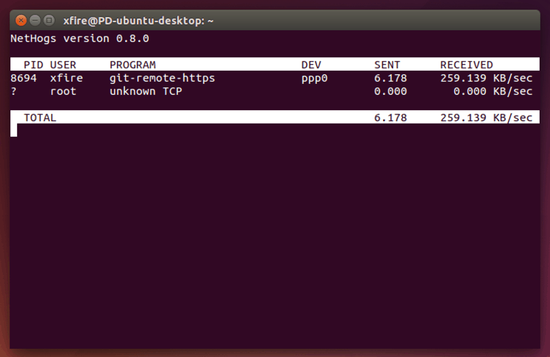 ubuntu下使用nethogs监控网络流量-1