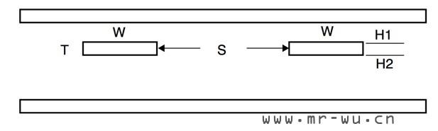 偏置的边缘耦合带状线方式 (同图 5,但是并不夹在两个参考平面正中间)
