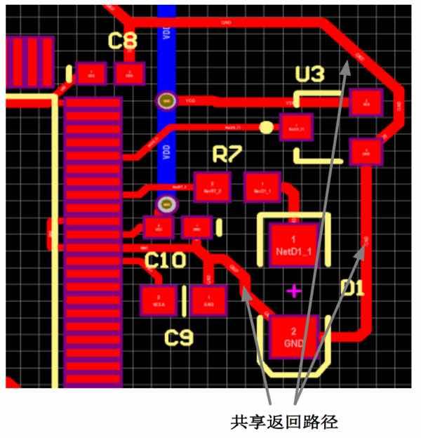 图 2. 共享返回路径的示例布局
