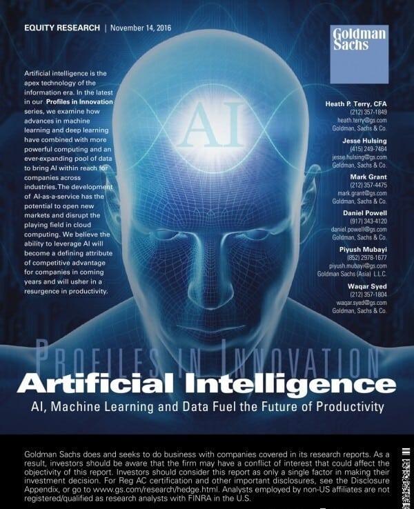 错过了山寨机别再错过AI了 2016高盛人工智能(AI)生态报告 PDF 中英文版下载